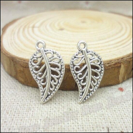 230 unids encantos hojas de plata tibetana colgante de aleación de Zinc collar p