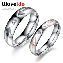 fb64db94b1 Sold by 2 Pcs Fashion Cubic Zirconia Female Engagement Pair Ring Couple  Rings Men Arrow and
