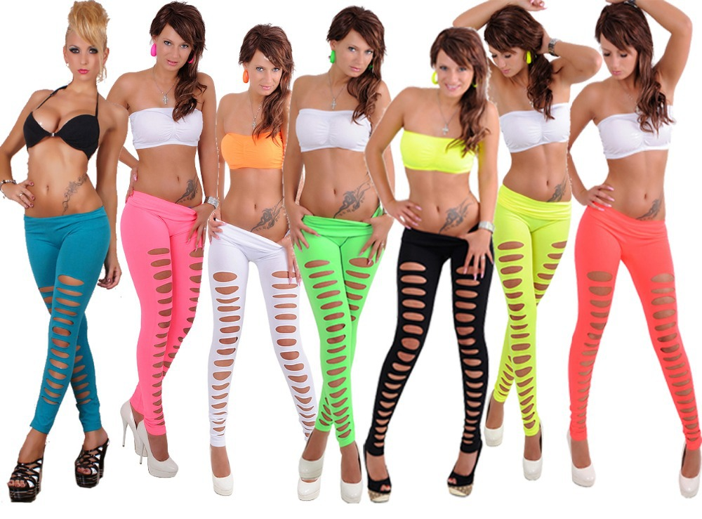 2017 High quality Sexy hole fluorescent color font b leggings b font Black Green Pink Yellow