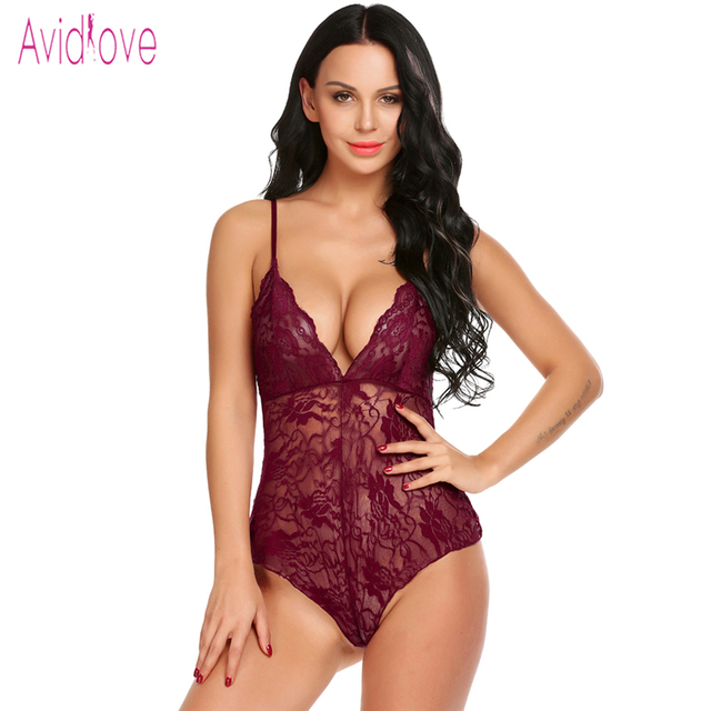2029ca203e Avidlove 2018 New Lace Lingerie Sexy Hot Erotic Teddy Bodysuit Women Sheer  Lace Nightwear Langeri Negligee