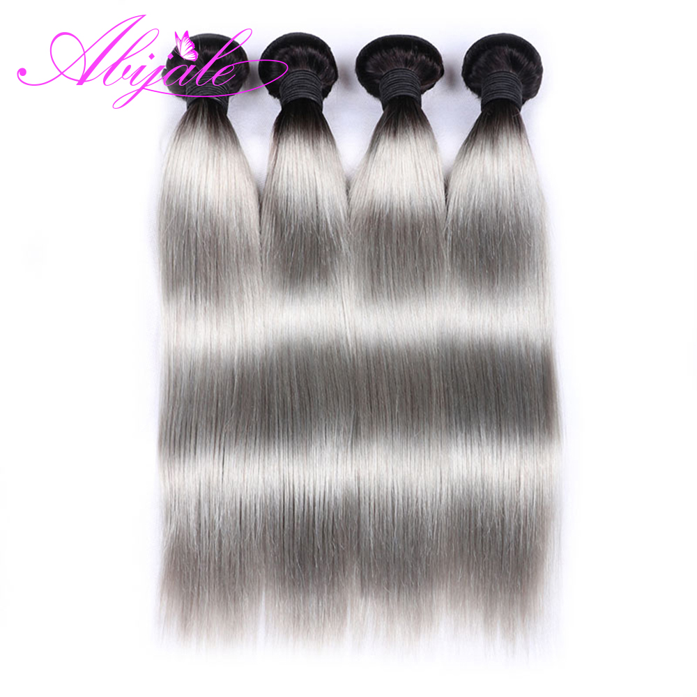 Hot Sale Abijale 4 Bundles Straight Hair Indian Hair Bundles Ombre Human Hair 1b/gray Color Remy Hair Extensions Hair Extensions & Wigs Human Hair Weaves