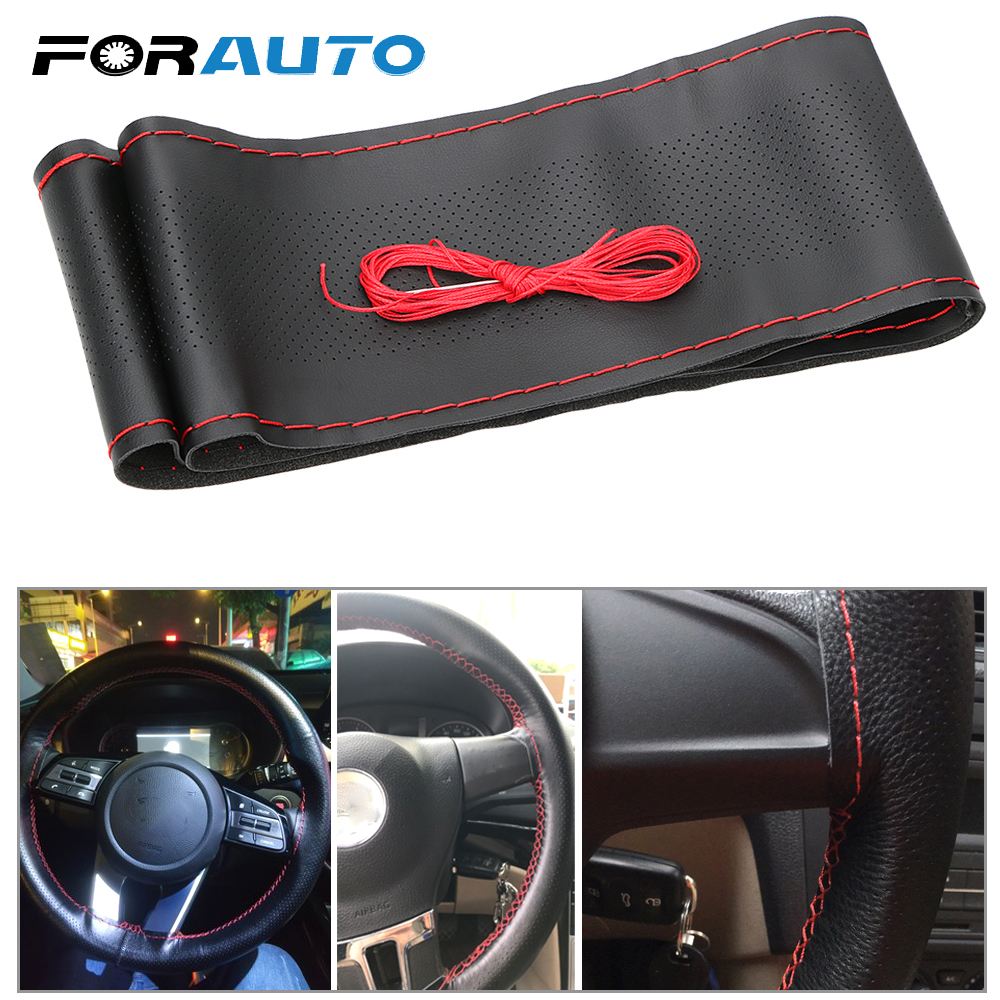 Braid on the Steering-wheel of Car 38cm/40cm DIY Steering Wheel Covers Car Covers Soft Leather With Needle and Thread