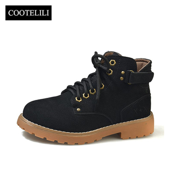 COOTELILI Ankle Boots For Women Flats Casual Shoes Woman Lace up Faux Suede Leather Botas Mujer Brown Black Plus Size 35-40