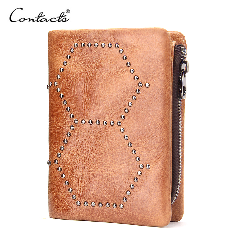 Casual Genuine Leather Unisex Standard Wallets With Coin Pocket For Photo Holder RFID Purse Zipper Short Wallet Gift For Father