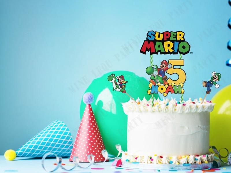 Персонализированное название на заказ, топпер для торта в виде динозавра Йоши для детей, украшение для торта на день рождения
