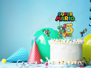 Customized Personalized name age Super Mario Bros Yoshi Dinosaur Cake Topper kids Birthday Party decoration Cake Topper(China)