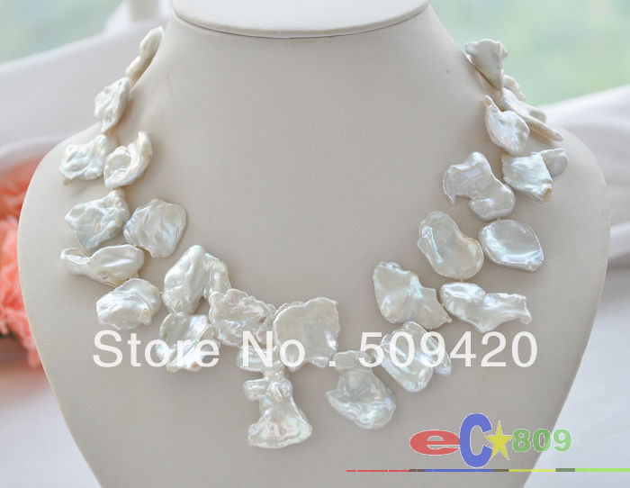 """Free Shipping >>Huge 17"""" 22mm white Leaf-shaped KESHI REBORN PEARL NECKLACE"""
