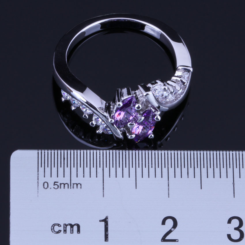 Candy Purple Cubic Zirconia White CZ 925 Sterling Silver Ring For Women V0405 in Rings from Jewelry Accessories