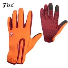Men Women Warmkeeping Winter Fishing Gloves Nonslip Zipper Closure Touch Screen Full Finger for Cycling Driving