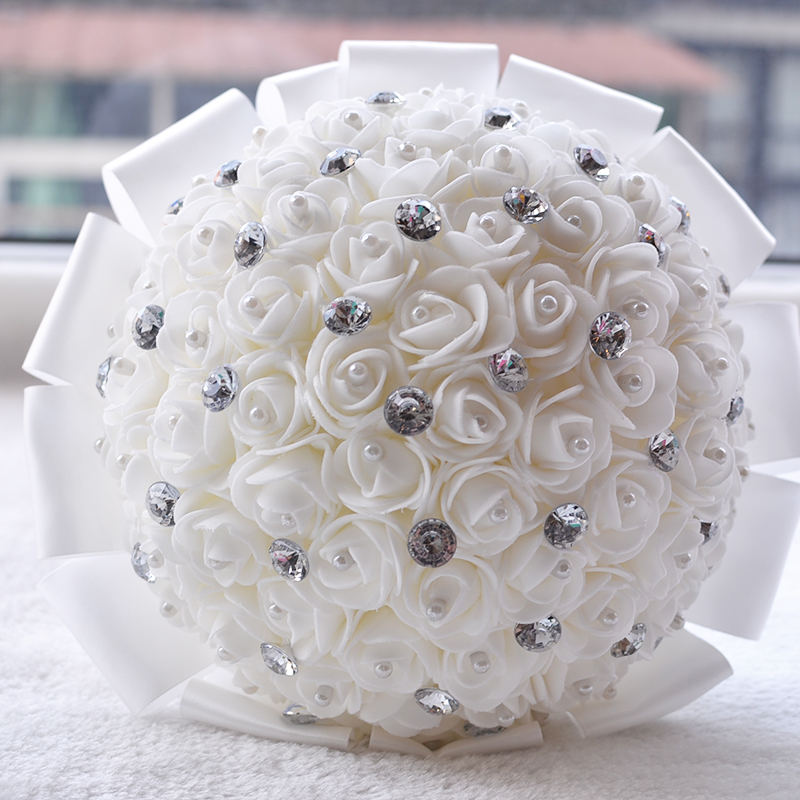 What Are Cheap Flowers For Weddings: 2017 Bridal Bridesmaid Wedding Bouquet Cheap White Wedding