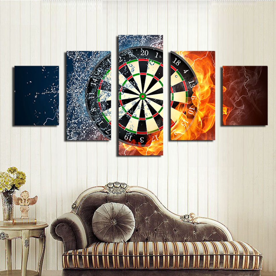 Real Fallout 5 Piece Darts Wheel Target Fire Water Home Wall Decor Picture Print On Canvas Painting Set of Each Unframed