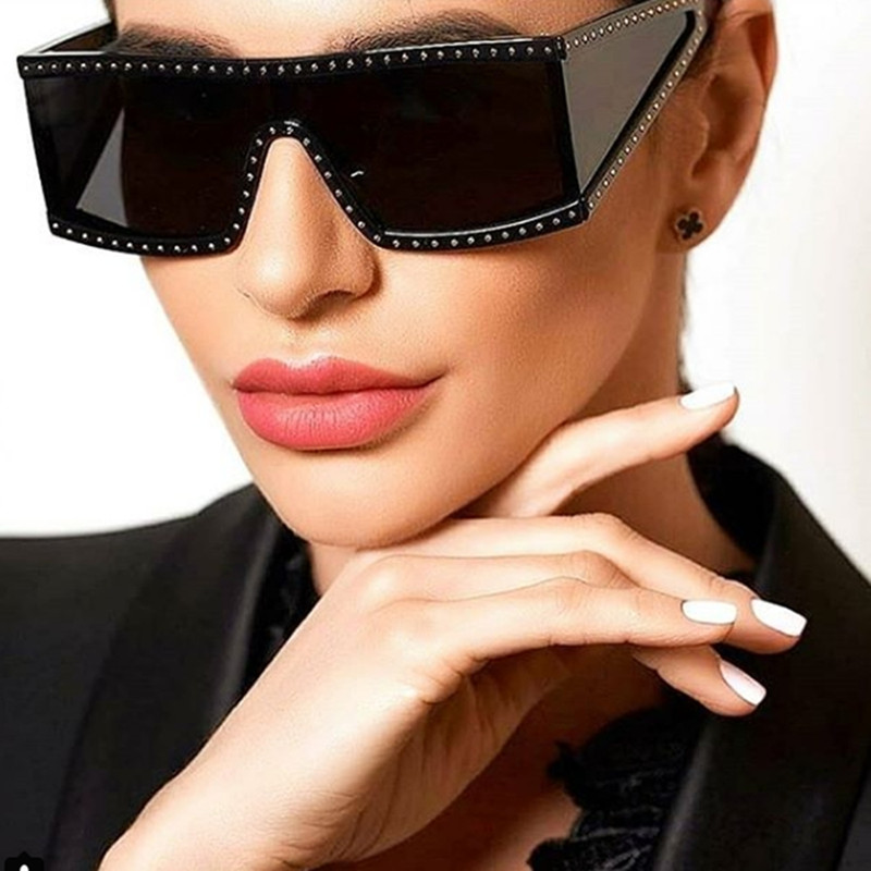 Oversized Sunglasses For Women Men Luxury Retro Brand Designer Vintage Punk Sun Glasses Female Male Big Frame Black Eyewear