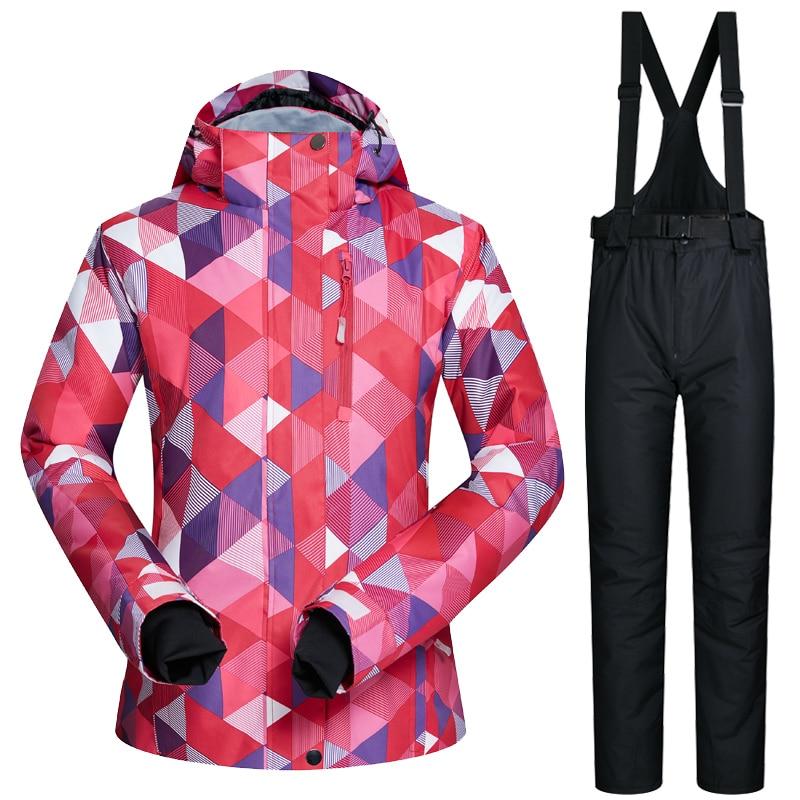 Femmes de Ski Veste Et Pantalon D'hiver En Plein Air Veste Snowboard Ski Manteau Femmes Vêtements De Ski de Neige Costume Coupe-Vent Imperméable Respirant