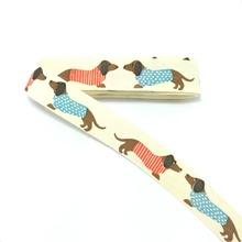 HOT!!!! 2015 new wholesale (16mmx100m/lot) 100% cotton ribbon Colours dog printing zakka handmade lace dog cat chain accessories