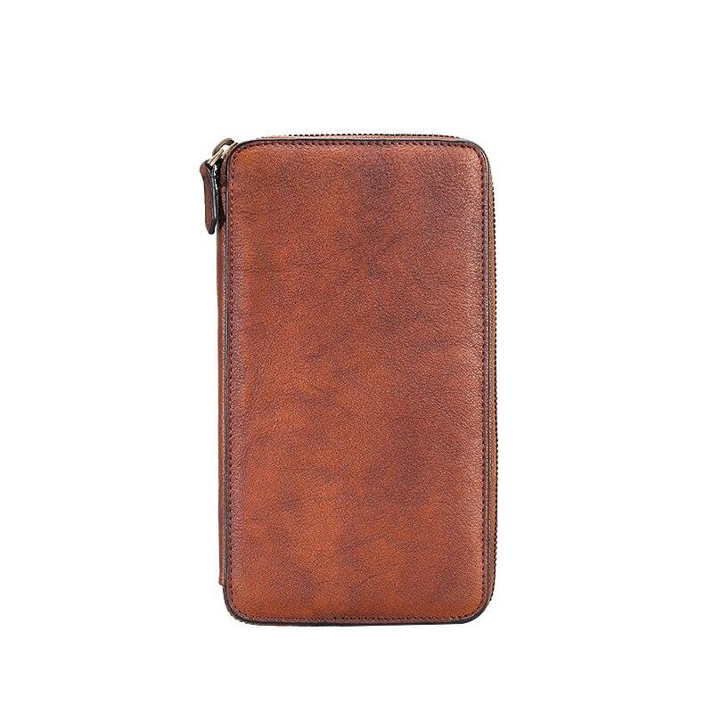 Dos homens de Couro genuíno sacos de embreagem longo zipper carteira retro artesanal juventude Retro masculino multi carteiras de cartão de grande capacidade - 6