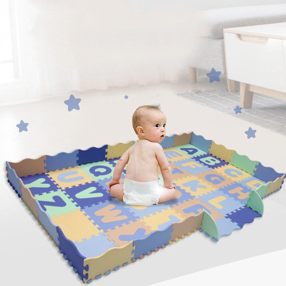 Bébé enfant doux développement tapis Alphabet motif bébé jouer tapis avec clôture mousse sol carreaux ramper tapis pour enfants jeu Pad