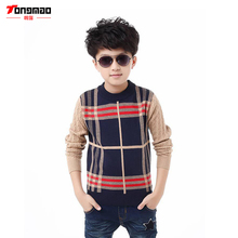 Fashion Casual Plaid Long-sleeved Round neck Slim 2016 New Winter Children's Clothing Boy Sweater Hedging Sweater Bottoming