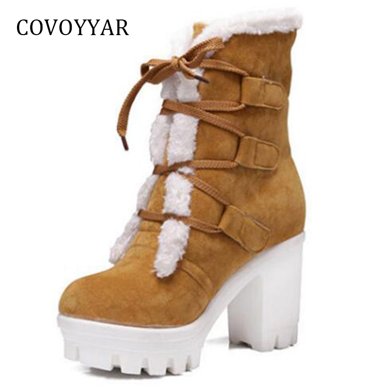 COVOYYAR 2018 Platform Ankle Snow Boots Women Flock Lace Up Booties Chunky Heel Women Boots Big Sizes Winter Shoes WBS922 наушники sony mdr zx310 накладные белый проводные