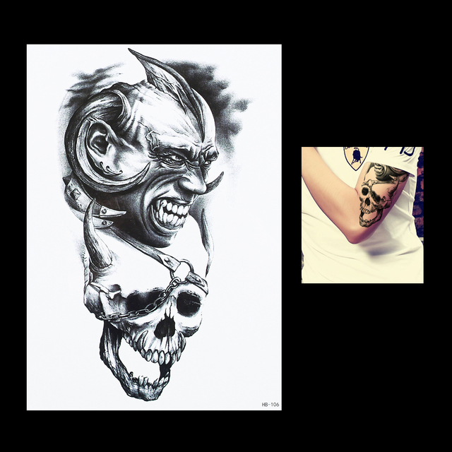 1pc beauty makeup women men flower arm body art punk painting dangerous devil skull tattoo hb106