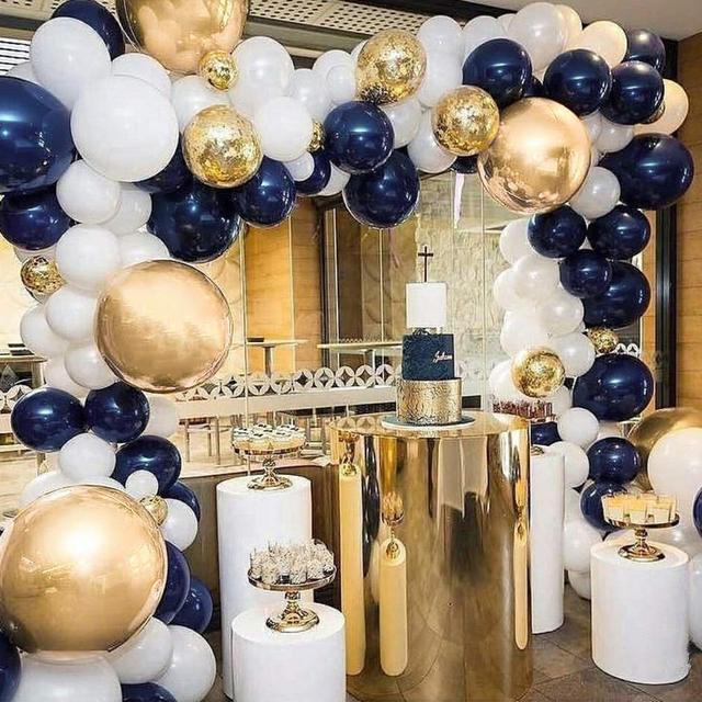 """Metable 104 12 polegadas azul marinho, branco fosco e lantejoulas de ouro, balões dourados, para """"festa de balão pequeno príncipe"""", """"festa da marinha"""""""