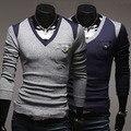 Blusas nova promoção capuz 2014 primavera masculino bloco de cor fino decoração v-neck bolso bordado camisola
