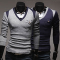 Sweaters New Promotion Pullovers Full 2014 Spring Male Slim Color Block Unique Decoration V-neck Pocket Button Pullover Sweater