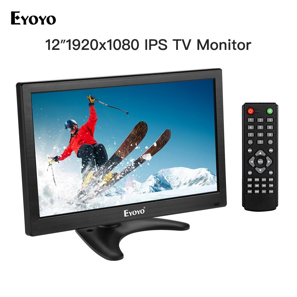 Eyoyo 12 inch EM12T 1920x1080 IPS LCD Screen Display HDMI TV Monitor Portable HDMI/VGA/AV/USB Input & Remote Control display EYOYO