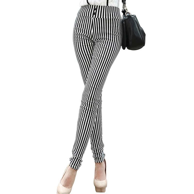 MOBTRS Striped Elastic High Waist Pants Female Button Decoration Slim Long Trousers Women's Fashion Stretch Pants For Wome