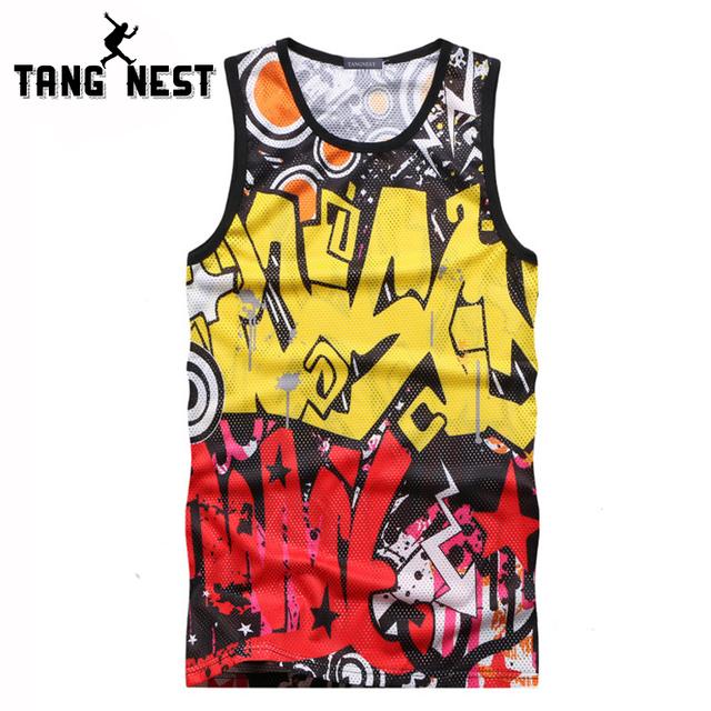 Tangnest impressão ocasional o-pescoço tanque dos homens tops 2017 summer fashion colete juventude homens venda quente confortável magro clothing mbs041