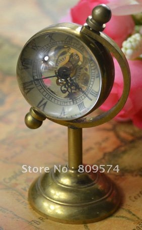 Coupon for wholesale price good quality standing retro  bronze glass ball brass globe stand watch globe mechanical watch hour