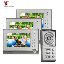 "Yobang Security freeship  7""color video doorbell phone with Video intercom camera and can control 3houses for multi apartment"