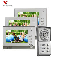 Freeship DHL 7 Color Video Door Phone 3 Monitors With 1 Intercom Doorbell Can Control 3