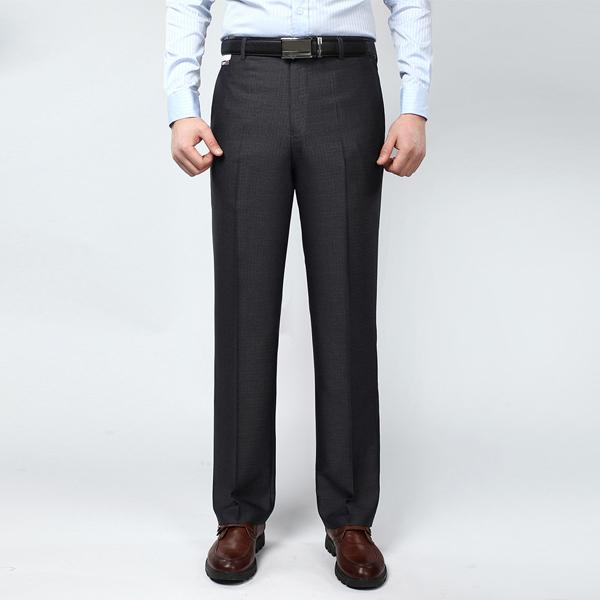Los hombres de Seda de Algodón Traje 2016 Nueva Alta Calidad Del Vestido Formal Negro Pantalones Rectos Pantalones Hombre 13M0113 Envío Gratis