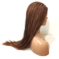DLME long pre box braids #30 brown color synthetic lace front wigs for black women with natural hairline heat resistant fiber