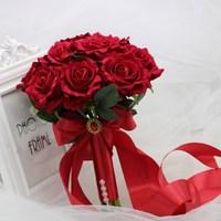 AYiCuthia Wedding Bouquet Decoration Foamflowers Rose Bridal Bouquet White Satin Romantic wedding flowers bridal bouquet s159