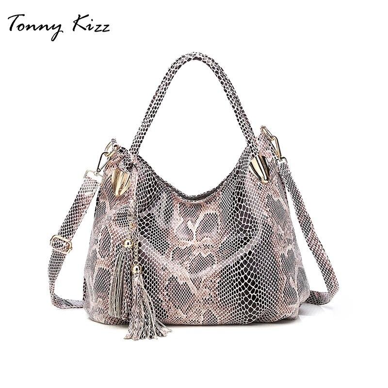 Tonny Kizz большие сумки для женщин 2018 сумка женская в ручках с узором змеи из кожи сумки женские на/через плечо высокого качества модный Хобо с п...