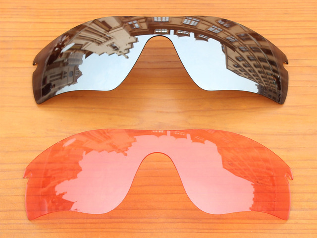 Chrome Silver & Crystal Pink 2 Pieces Replacement Lenses For RadarLock Path Sunglasses Frame 100% UVA & UVB Protection