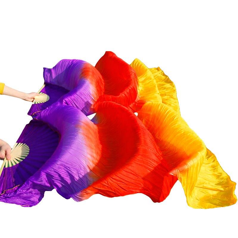 Hot Sale 100% Real Silk Fans 1 Pair Handmade Dyed Silk Belly Dance Fans Dance Performance Props Fans Purple+Red+Orange 180x90cm