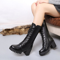 2017 Sexy Lace Up Square High Heel Women Boots Mid Calf Zipper Snow Boots Thick Platform
