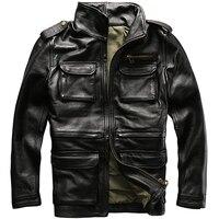 HARLEY Jack Wills черный Для мужчин Safari Стиль кожаная куртка плюс Размеры XXXXXL подлинной толстые теплые Весна русский M65 кожаные пальто