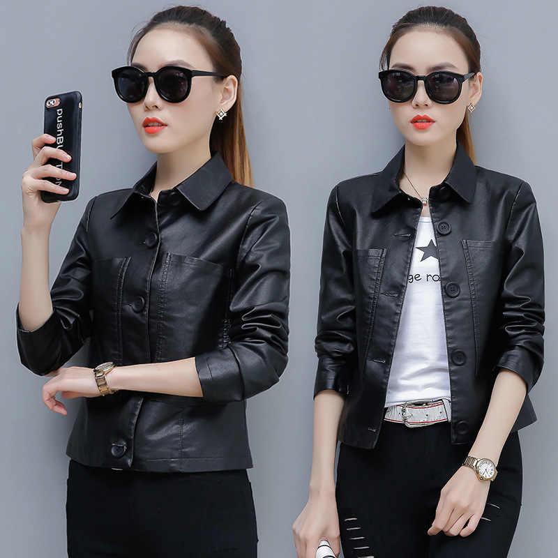 DHfinery leather jacket women Fashion lapel Slim Short motorcycle PU jacket Black green caramel faux leather jackets TB5722
