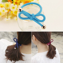 2pcs Fashion New Women Elastic Hair Band Colorful Tie Rope Bow Ring Rubber Ponytail Holder For Girls Accessories
