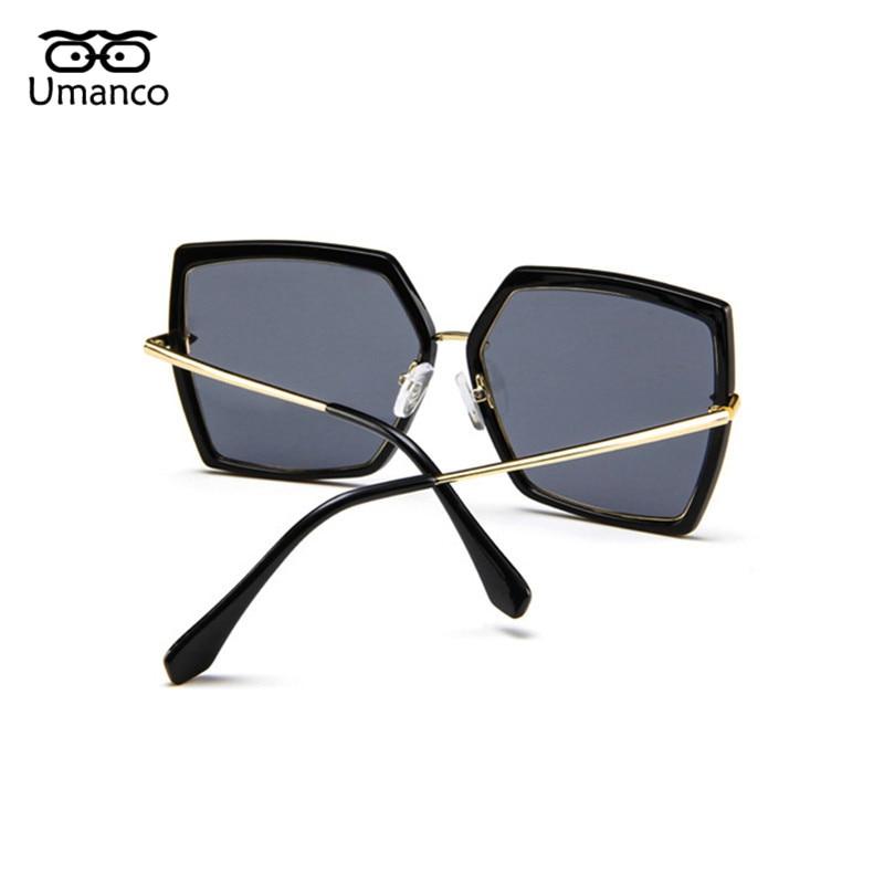 62190c67031 Umanco Retro Black Big Frame Square Sunglasses Women Men Vintage Fashion  Metal Sun Glasses Large Shades Mirror Female Eyewears-in Sunglasses from  Women s ...