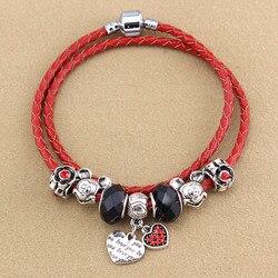 Chanceux rouge corde deux tours en cuir cordon perlé fait main bracelets à la mode femme contracté perlé bracelet bijoux en gros