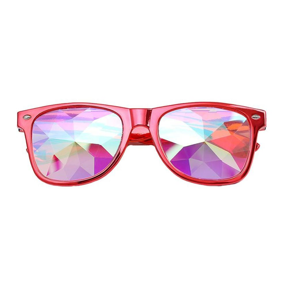 Transparent Metal Round Rainbow Man Glasses Diffraction Crystal Lens Sunglasses