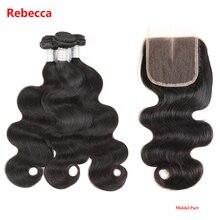Ребека Парикмахерская 100% remy Человеческие волосы Связки Бразильский Для тела волны 2/3 Связки с Накладные волосы утка ткань с Накладные волосы