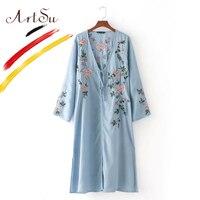 ArtSu Vintage 3D Embroidery Denim Women S Jacket Kimono Autumn Long Sleeve V Neck Split Long