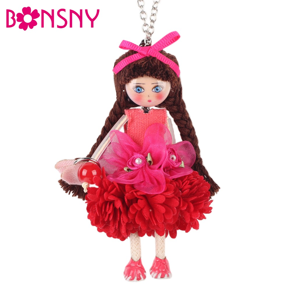 Bonsny Handmade French Doll Necklace Statement Cloth Long Chain Pendant 2016 New Spring Summer Jewelry for Women Gift Accessorie ...