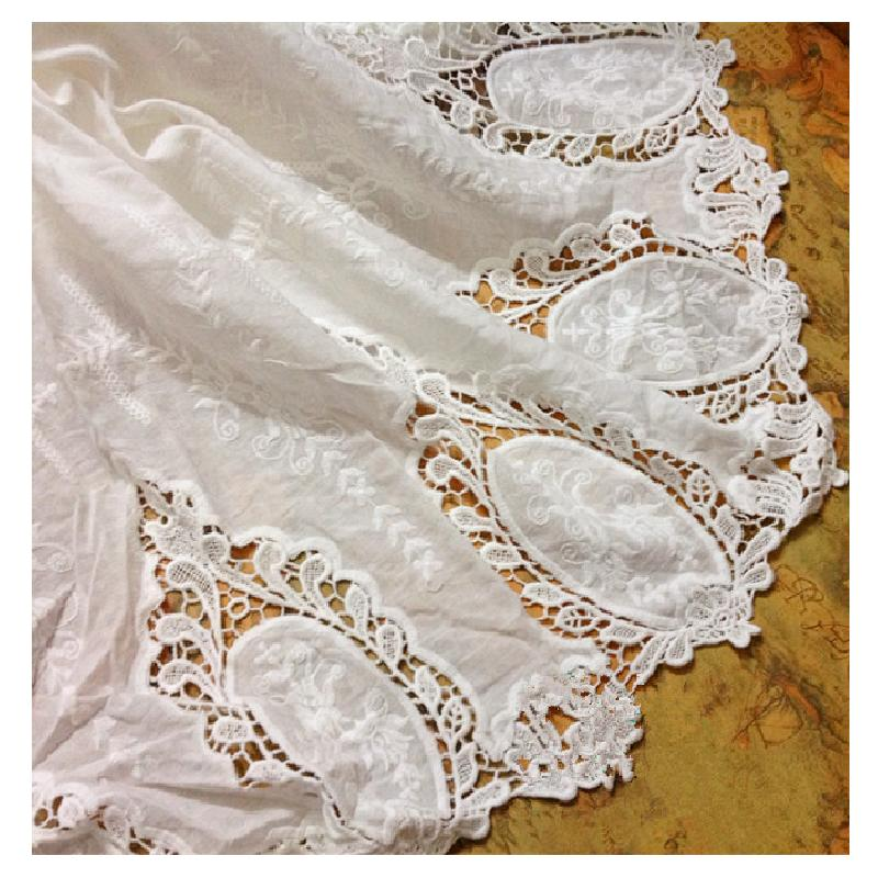 Cotton Lace Fabrics 100% Swiss Cotton Embroidered Fabric For Dress Appliqued Double Sides Chemical Lace Scallop Diy Trims 130CM