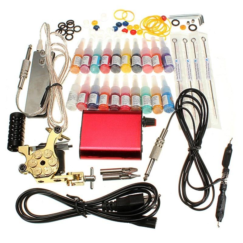 ФОТО Professional Tattoo Equipment Kit  Power Supply Needles Beginner Set 20 Color Ink Body Tattoos Art Machine Tools
